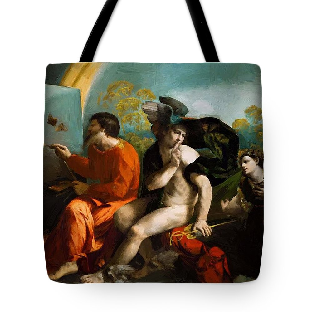 Jupiter Tote Bag featuring the painting Jupiter Mercury And Virtue 1524 by Dossi Dosso