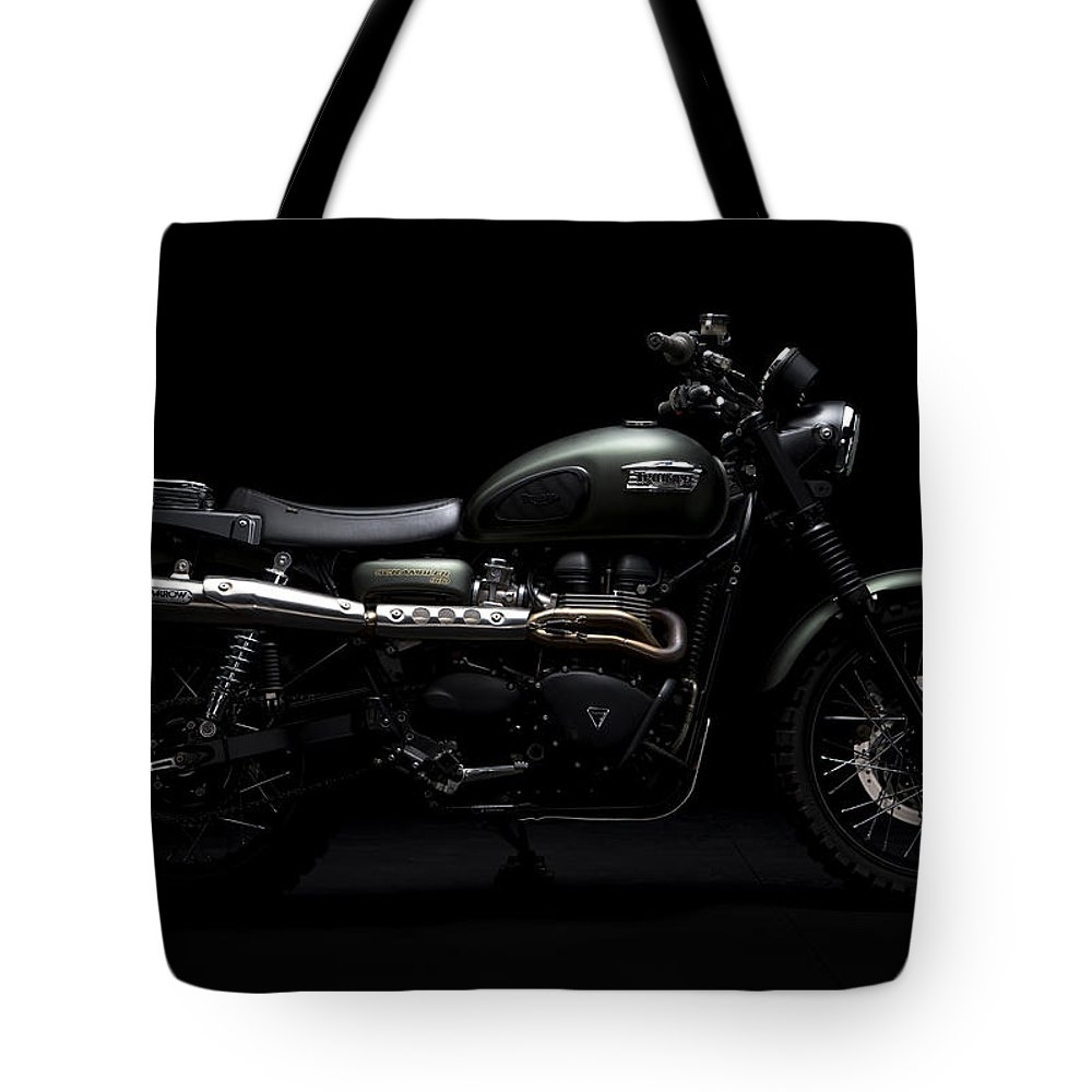 Triumph Tote Bag featuring the photograph Jurassic Scrambler by Keith May