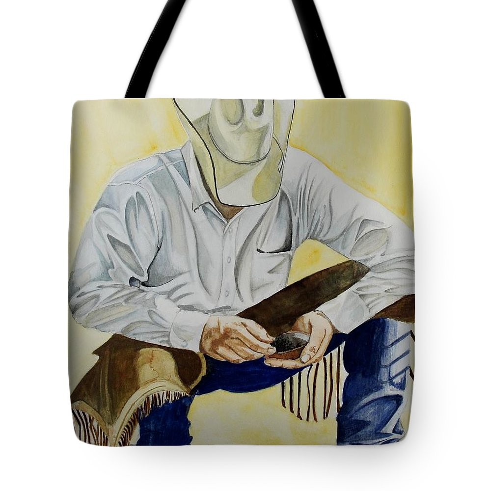 Boots Tote Bag featuring the painting Just A Pinch by Jimmy Smith
