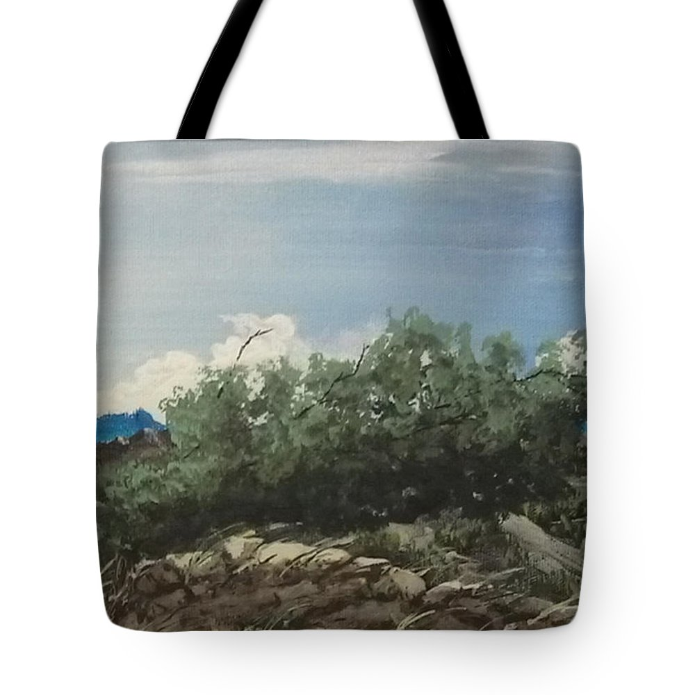 Landscape Tote Bag featuring the painting Just Another Windy Day by David Stanley