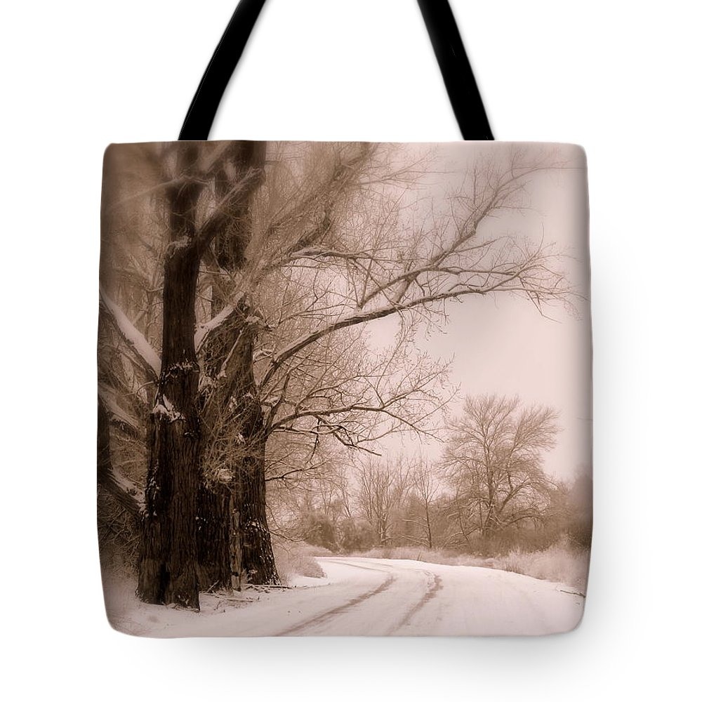 Winter Tote Bag featuring the photograph Just Around The Bend by Carol Groenen