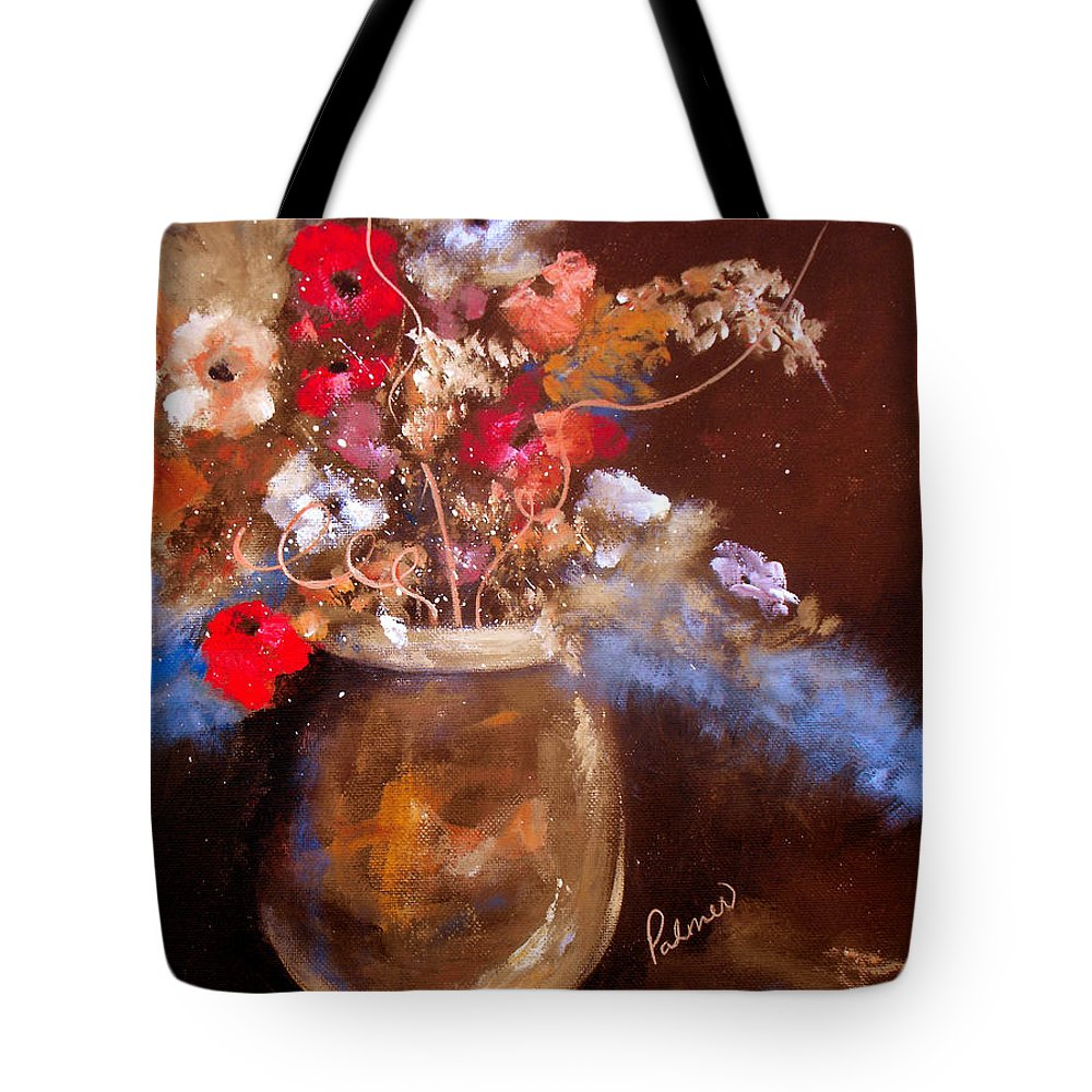 ruth Palmer Tote Bag featuring the painting Just Flowers by Ruth Palmer