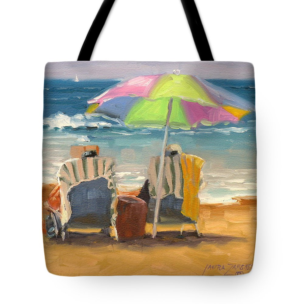 Beach Tote Bag featuring the painting Just Leave A Message Jr by Laura Lee Zanghetti