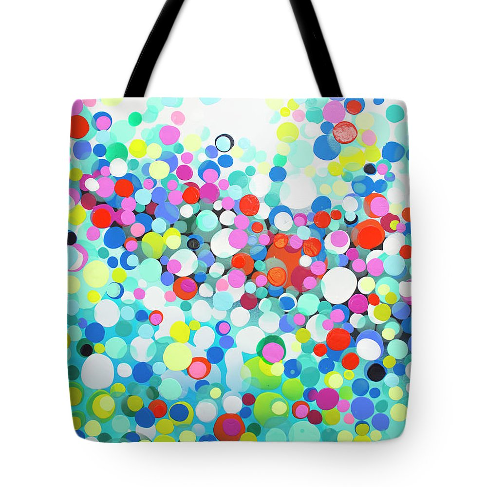 Abstract Tote Bag featuring the painting Just Let It by Claire Desjardins