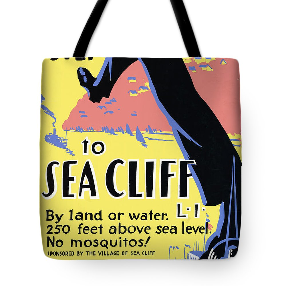 Sea Cliff Tote Bag featuring the mixed media Just One Long Step to Sea Cliff - Long Island - Retro travel Poster - Vintage Poster by Studio Grafiikka