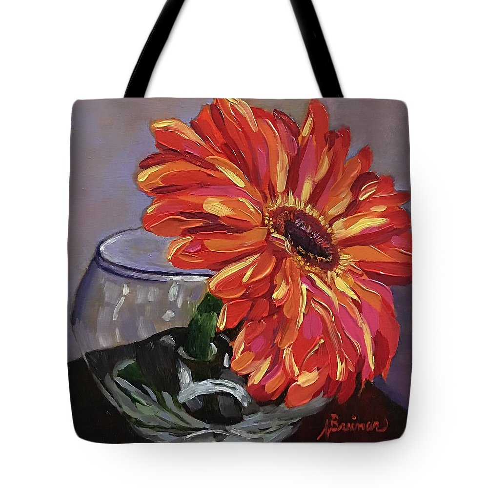 Gerbera Daisy Tote Bag featuring the painting Just One by Nancy Breiman