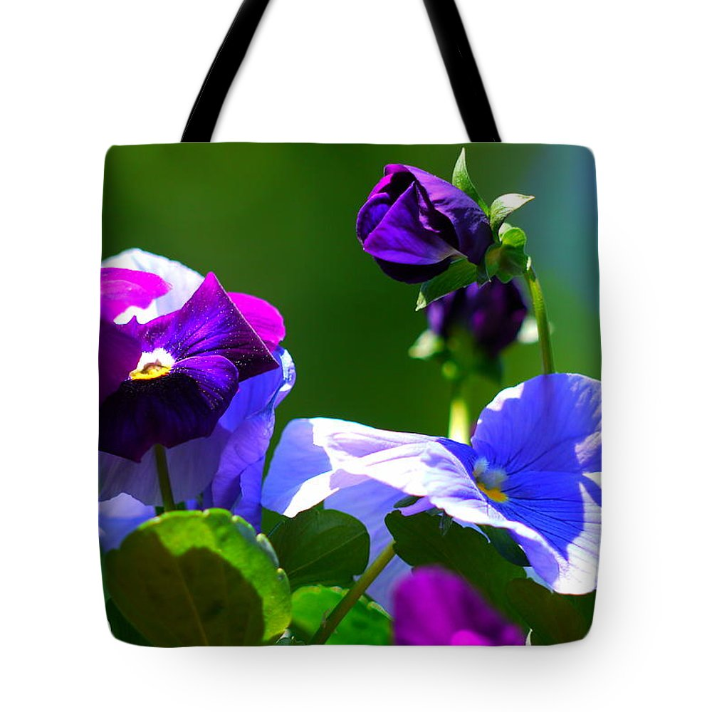 Pansy Tote Bag featuring the photograph Just Pansy by Nancie DeMellia