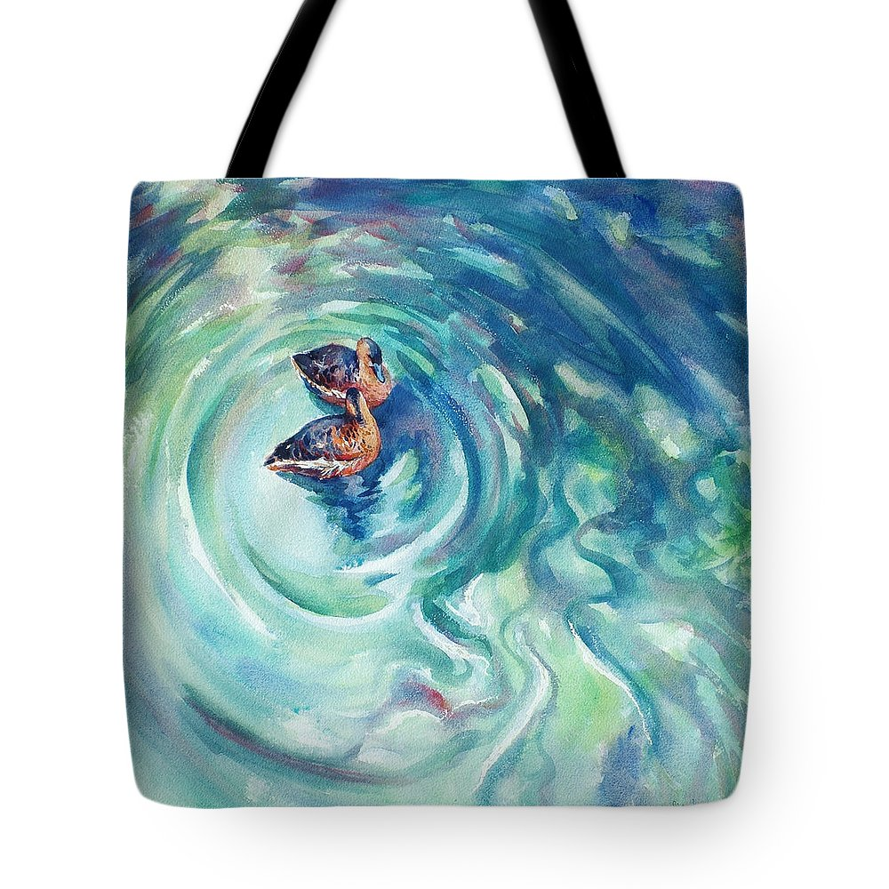 Ducks Tote Bag featuring the painting Just Swimming by Ekaterina Mortensen