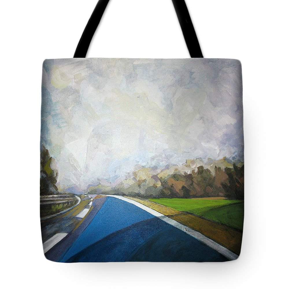 Landscape Tote Bag featuring the painting Just That by Mima Stajkovic