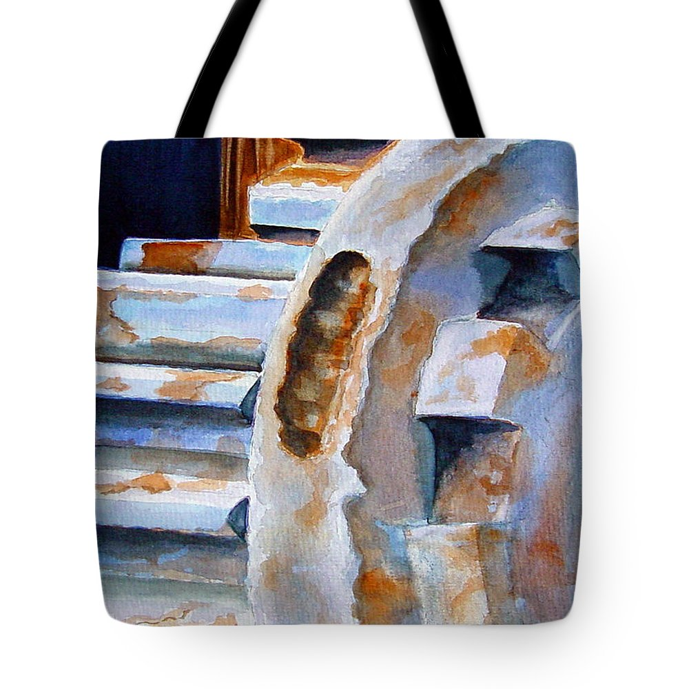 Machinery Tote Bag featuring the painting Just Won't Budge by Marsha Elliott