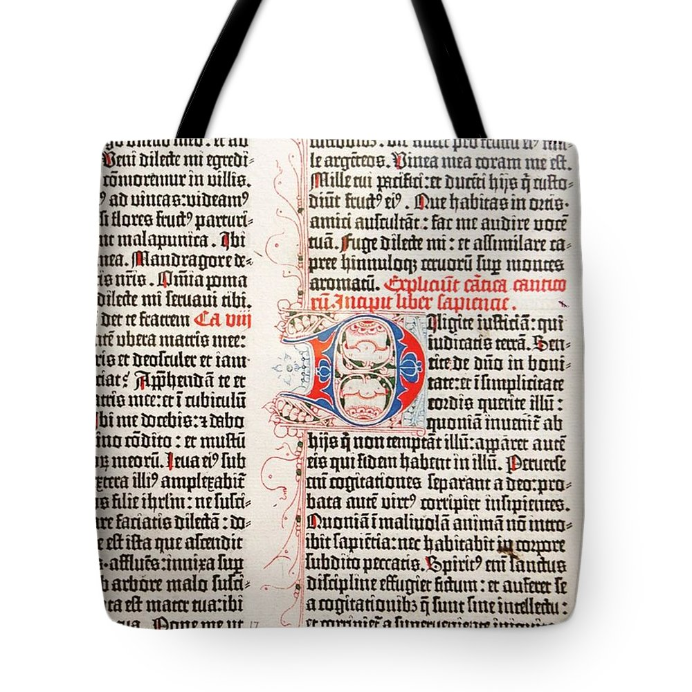 Gutenberg Bible Tote Bag featuring the photograph Gutenberg Bible by Heather Classen