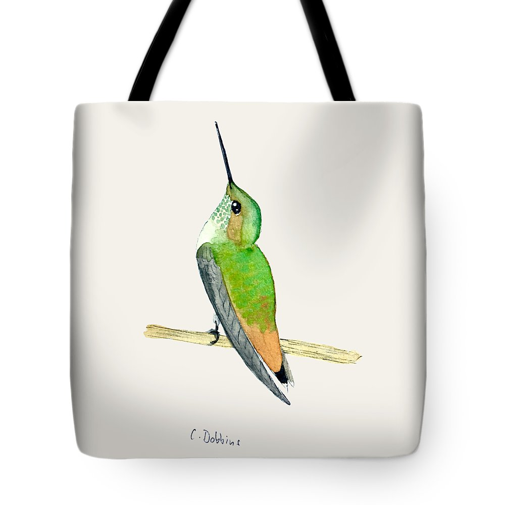 Bird Art Tote Bag featuring the painting Juvenile Allen's Hummingbird by Christiane Dobbins