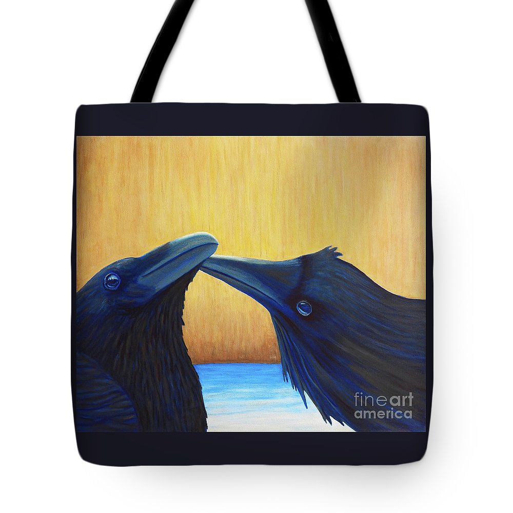 Ravens Tote Bag featuring the painting K And B by Brian Commerford