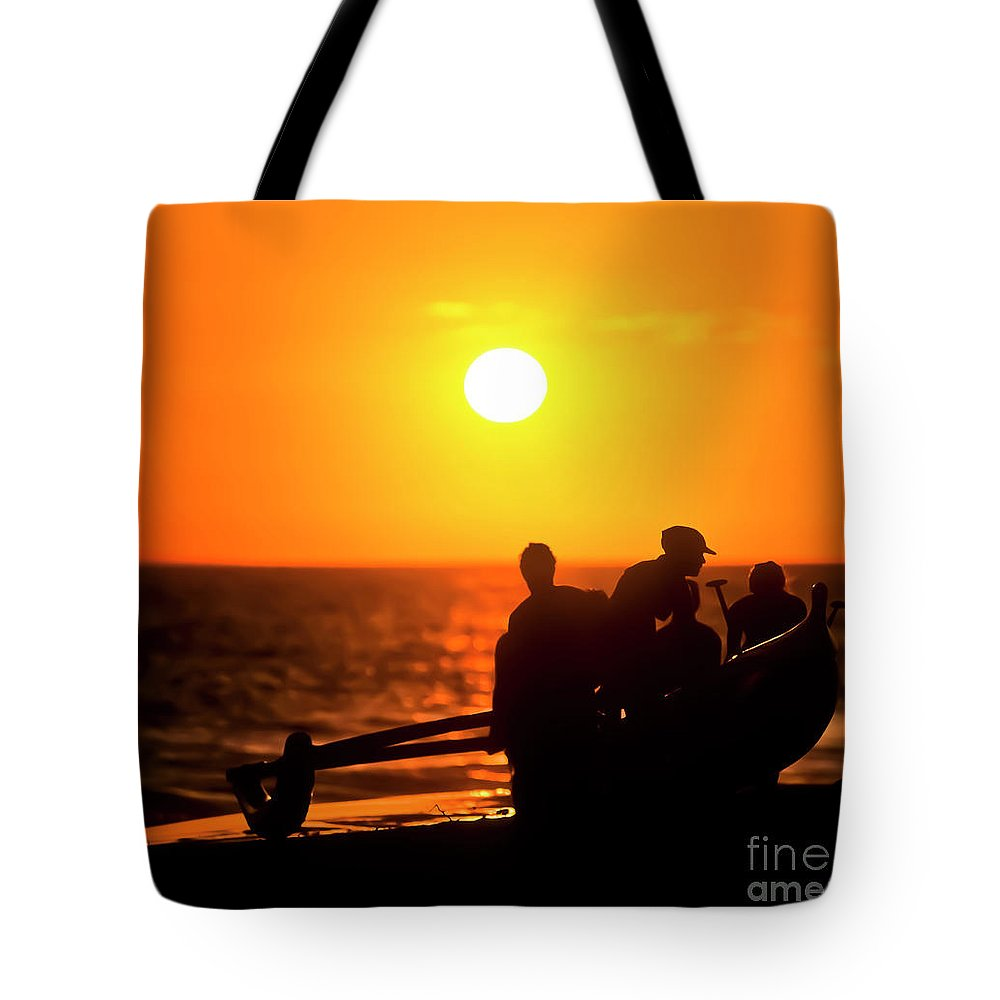 Hawai'i Tote Bag featuring the photograph Kaanapali Beach Outrigger Sunset by Jim Cazel