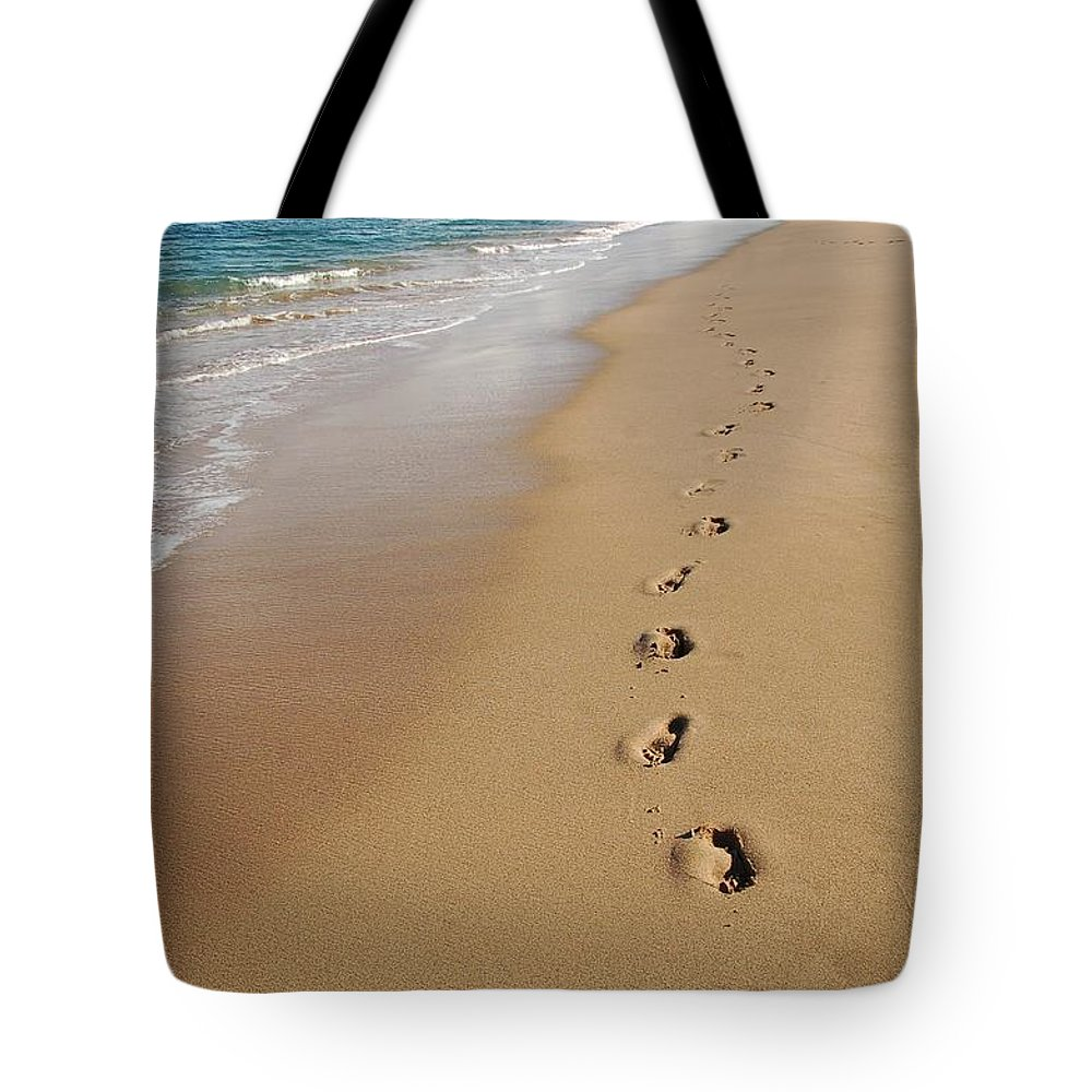 Kaanapali Beach Tote Bag featuring the photograph Kaanapali Footprints In The Sand by Christine Owens