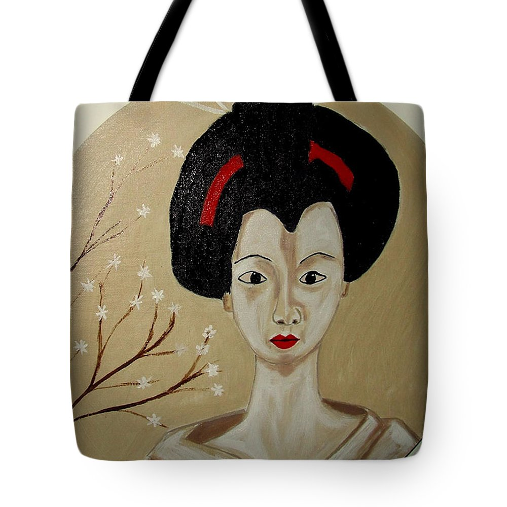 Japanese Tote Bag featuring the painting Kabuki Girl by Rusty Gladdish
