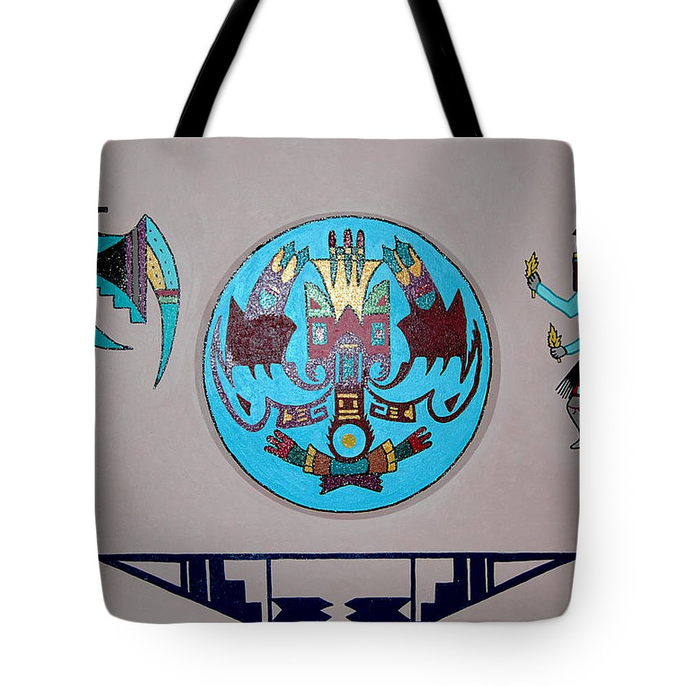 Native American Art Tote Bag featuring the painting Kachina Dance by Marco Morales
