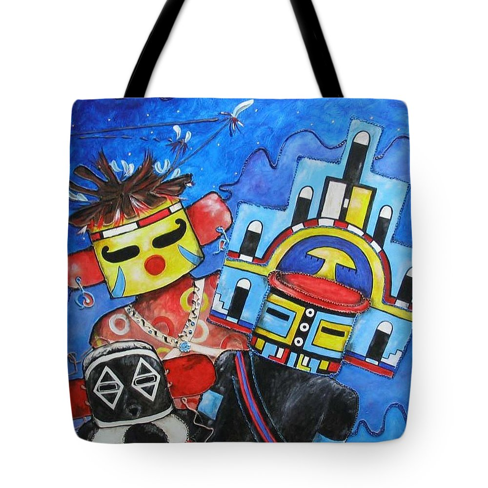 Native Tote Bag featuring the painting Kachina Knights by Elaine Booth-Kallweit