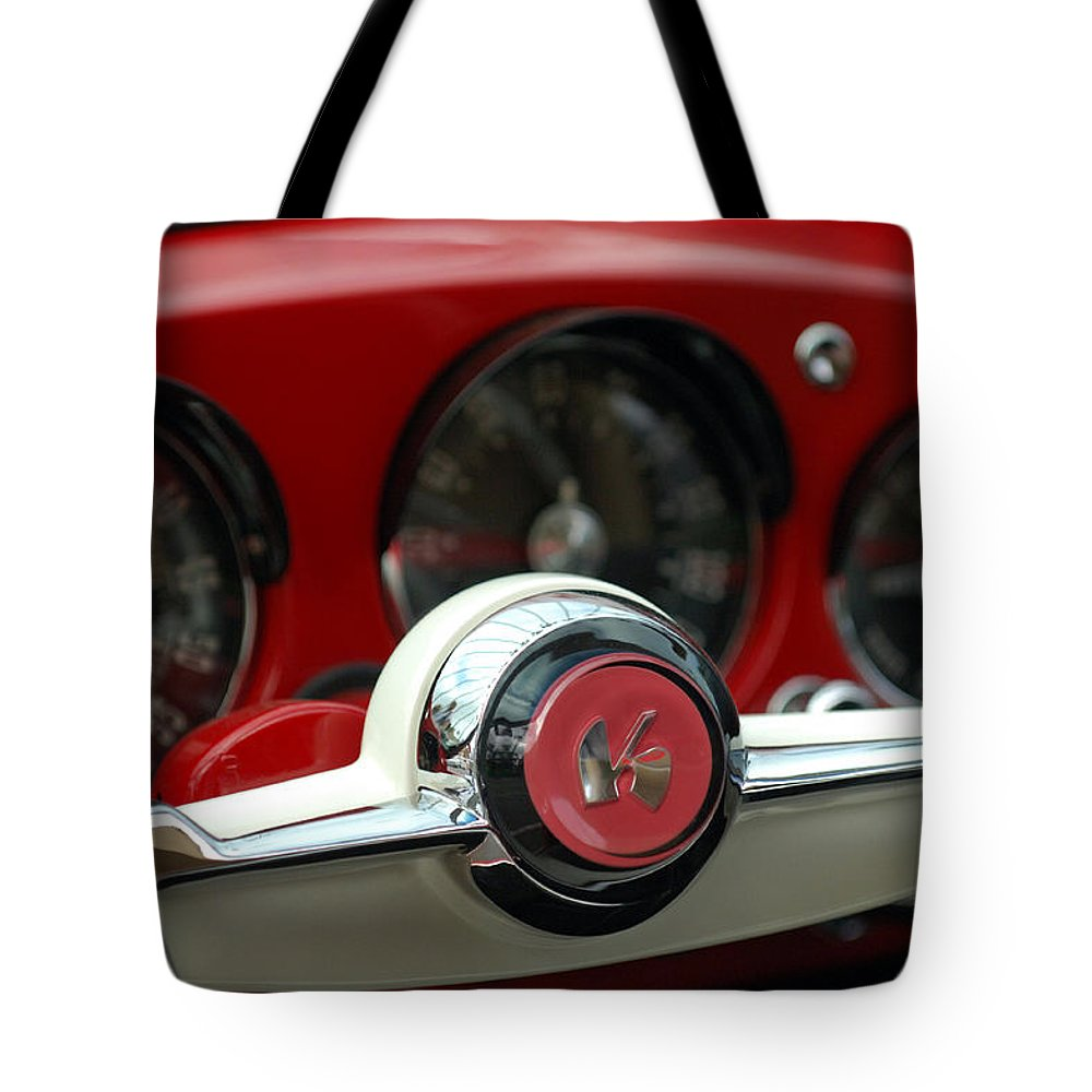 Car Tote Bag featuring the photograph Kaiser Steering Wheel by Jill Reger