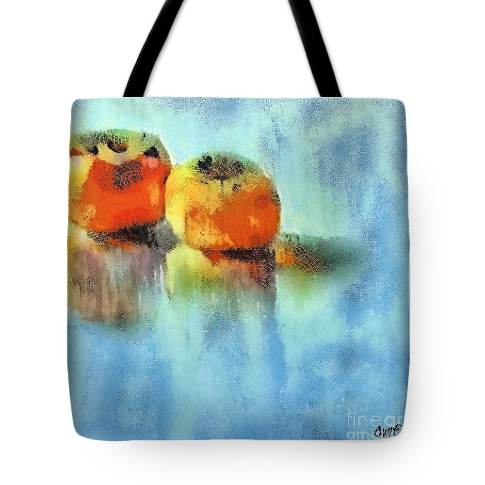 Fruits Tote Bag featuring the pastel Kaki Couple by Dragica Micki Fortuna