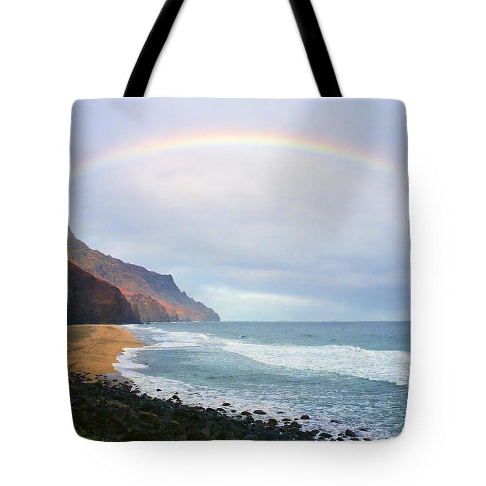 Rainbow Tote Bag featuring the photograph Kalalau Beach Rainbow by Kevin Smith