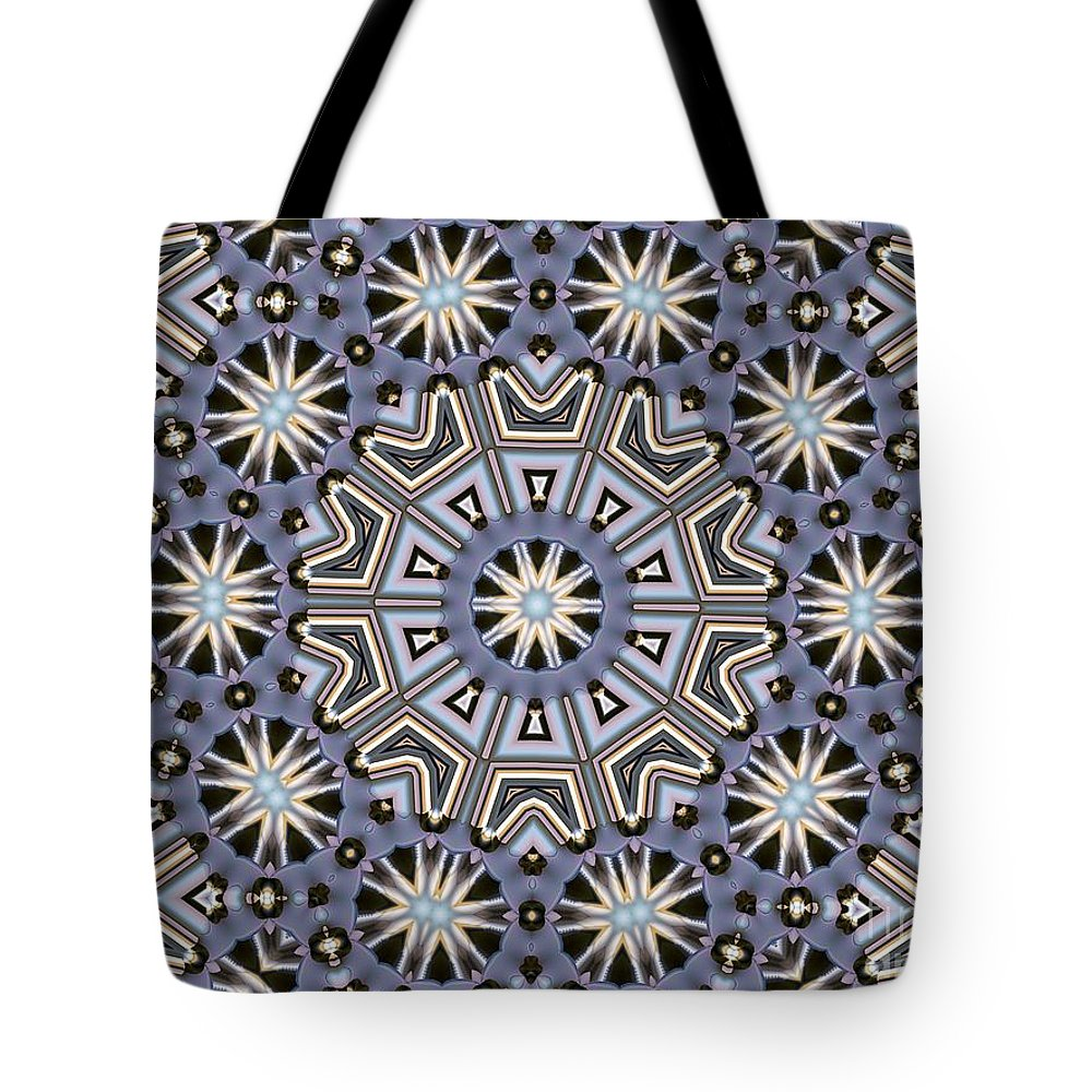 Kaleidoscope Tote Bag featuring the digital art Kaleidoscope 104 by Ron Bissett