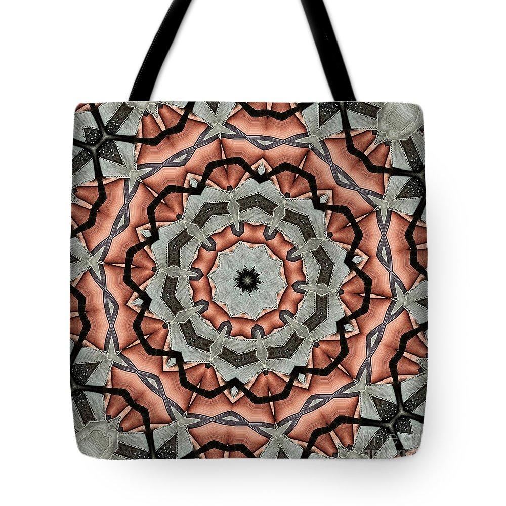 Kaleidoscope Tote Bag featuring the digital art Kaleidoscope 127 by Ron Bissett