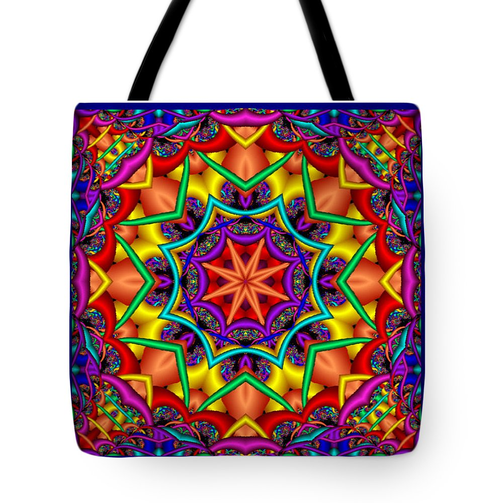 Kaleidoscope Tote Bag featuring the digital art Kaleidoscope 2 by Charmaine Zoe