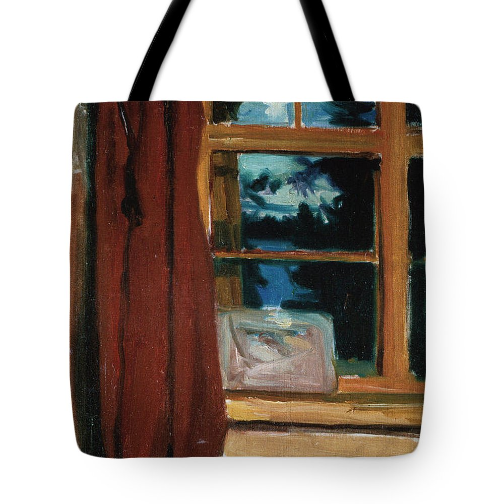 Akseli Gallen-kallela Tote Bag featuring the painting Kalelas Library In Moonlight by Celestial Images