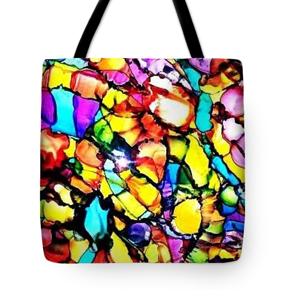 Alcohol Ink Tote Bag featuring the painting Kalidescope by Julie Bullock