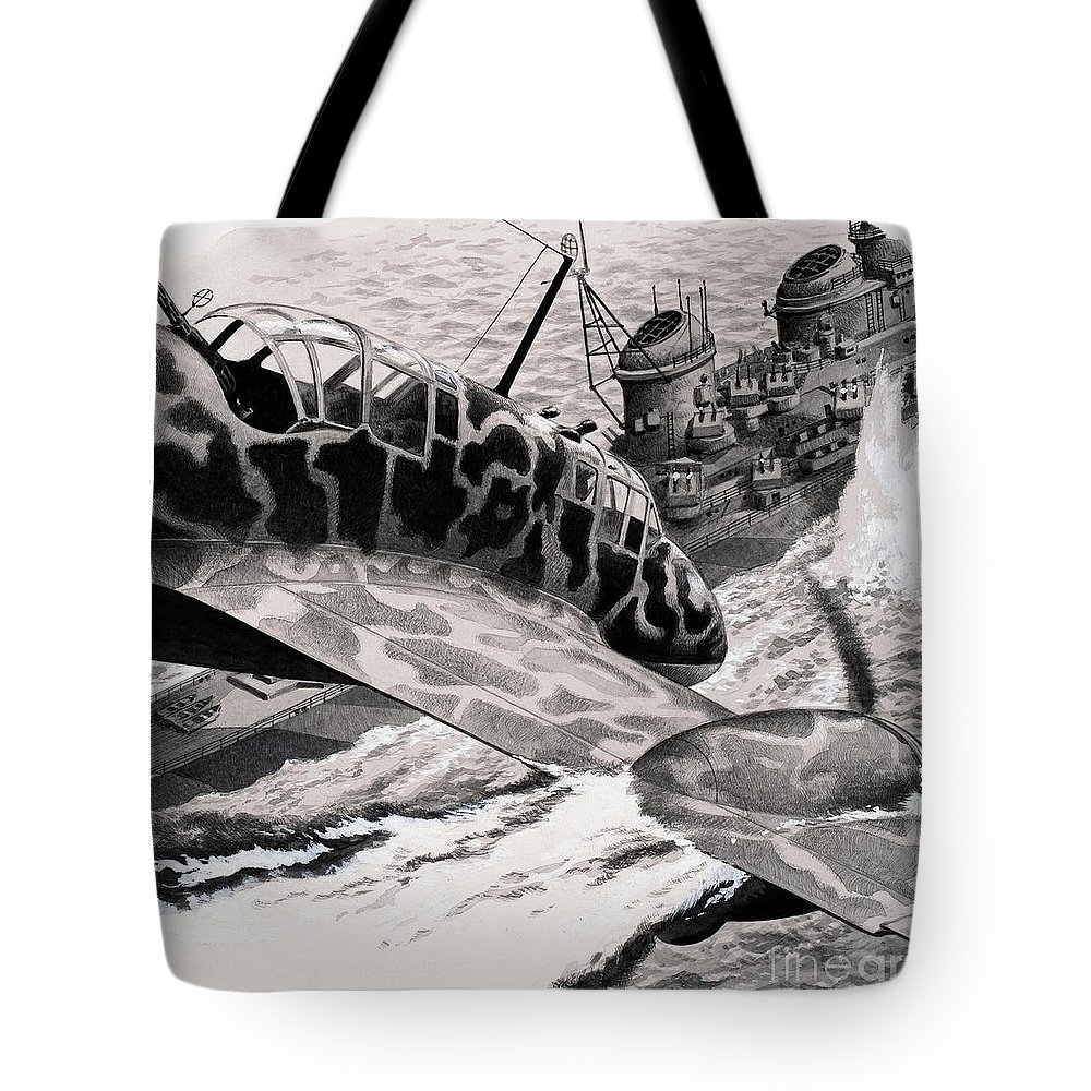 Kamikaze Attack Tote Bag featuring the painting Kamikaze Attack by Pat Nicolle