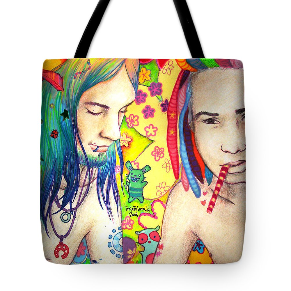 Colours Tote Bag featuring the drawing Kamil And Louis by Freja Friborg