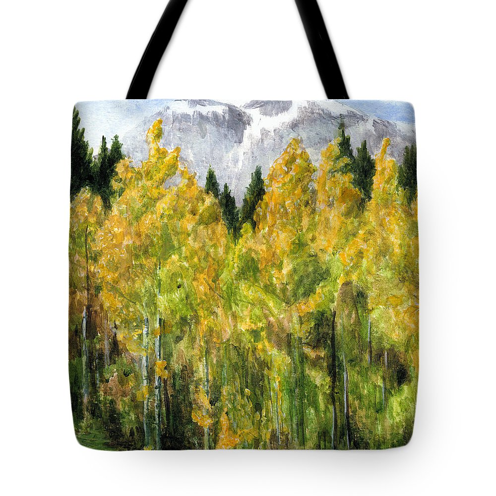 Landscape Tote Bag featuring the painting Kananaskis Autumn Morn by Michael Beckett