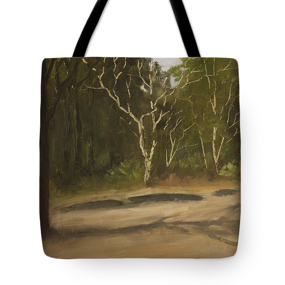 Landscape Tote Bag featuring the painting Kanha Forest Trail by Mandar Marathe
