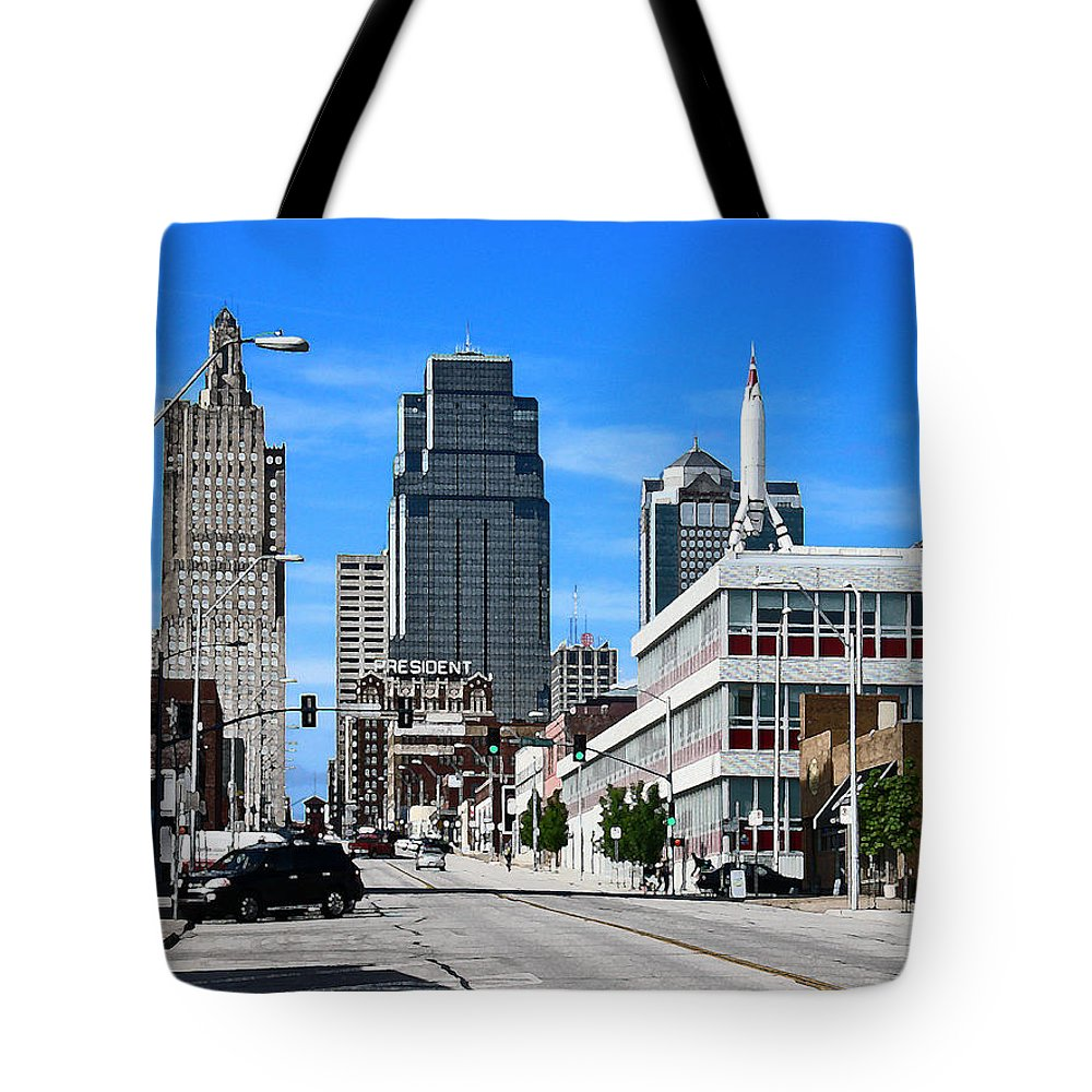 City Scape Tote Bag featuring the photograph Kansas City Cross Roads by Steve Karol