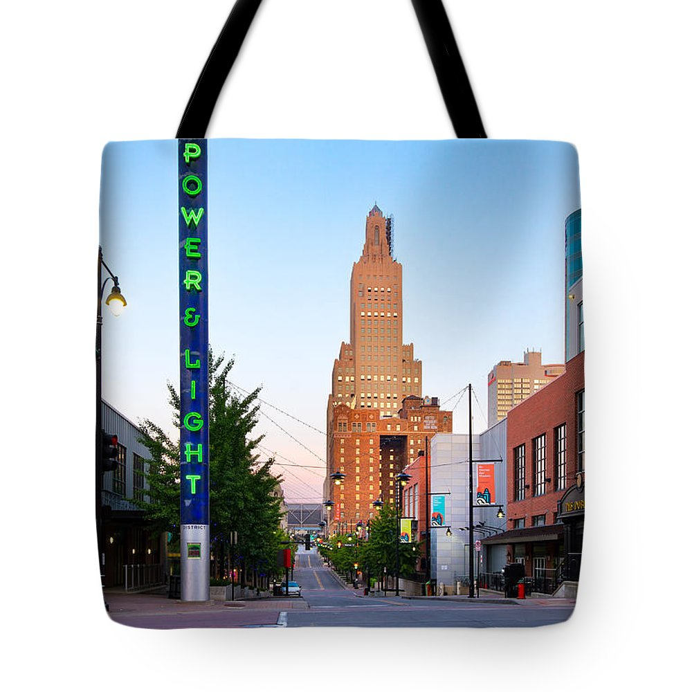 Restaurants Tote Bag featuring the photograph Kansas City Power And Light District by Tommy Brison
