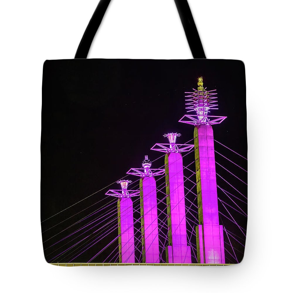 Steven Bateson Tote Bag featuring the photograph Kansas City Pylons In Pink by Steven Bateson