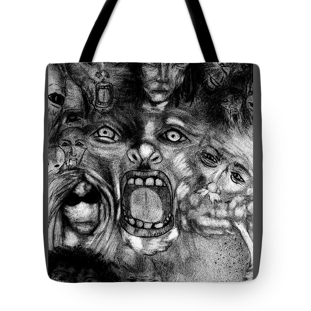 Chaos Tote Bag featuring the drawing Kaos Theory by Michelle Audas