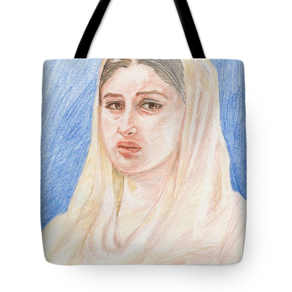 Pencil Sketch Tote Bag featuring the painting Kareena by Asha Sudhaker Shenoy