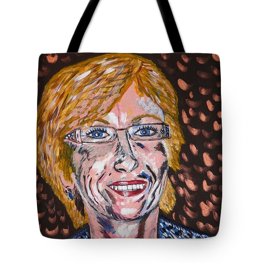 Portrait Tote Bag featuring the painting Karin by Valerie Ornstein