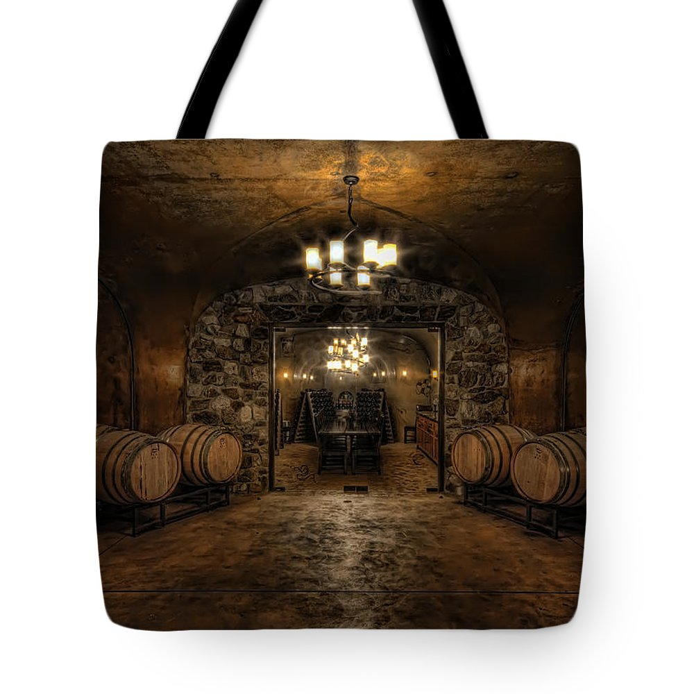 Hdr Tote Bag featuring the photograph Karma Winery Cave by Brad Granger