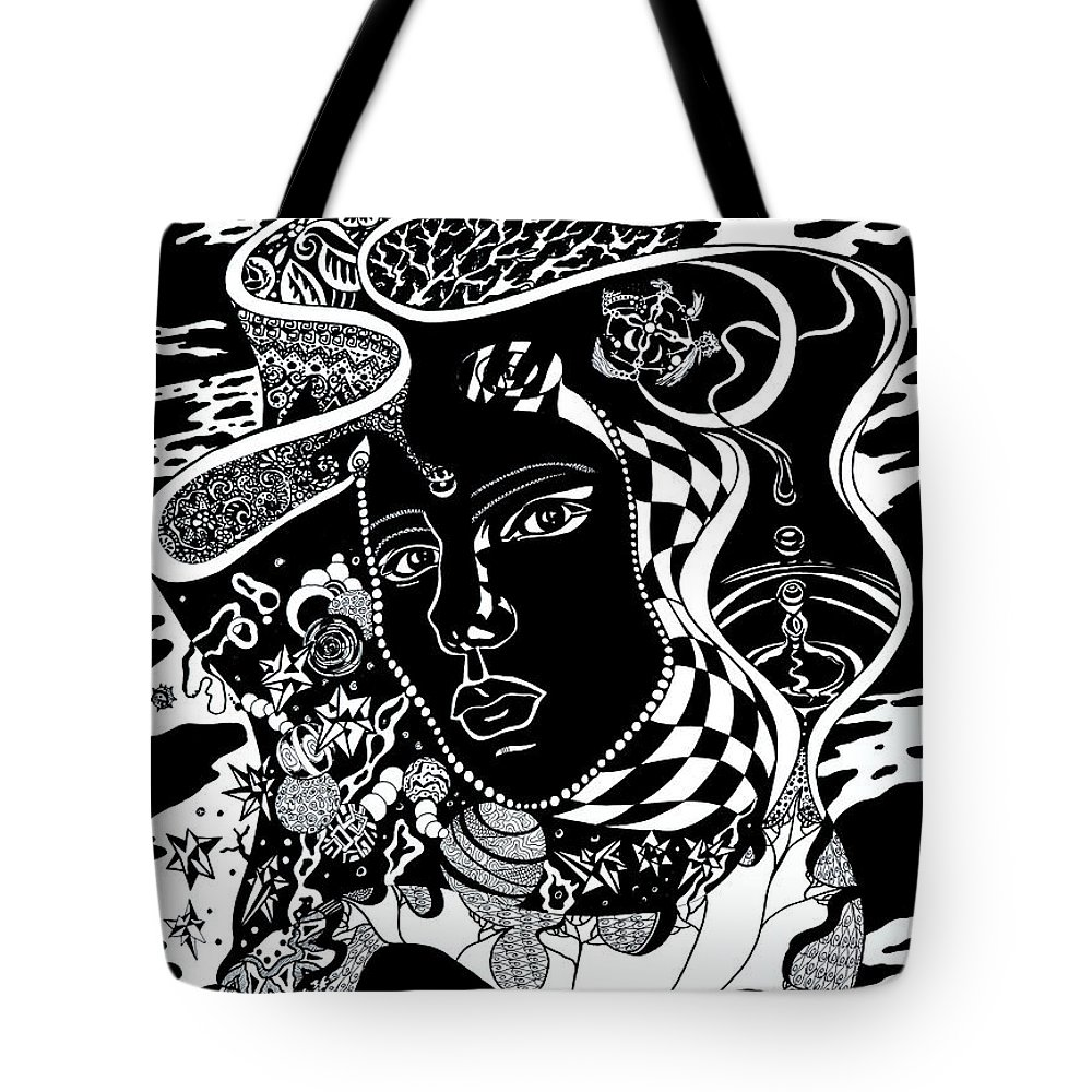 Surreal Tote Bag featuring the drawing Karma by Yelena Tylkina