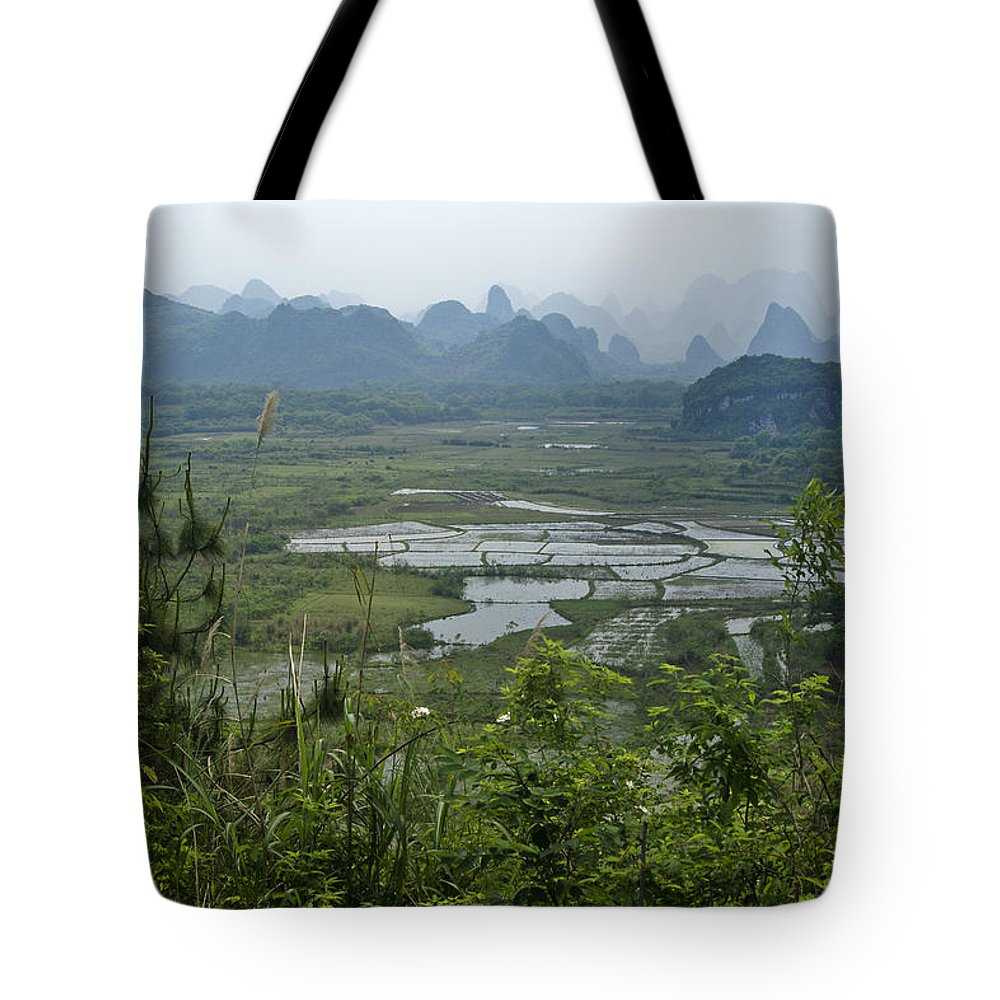 Asia Tote Bag featuring the photograph Karst Landscape of Guangxi by Michele Burgess