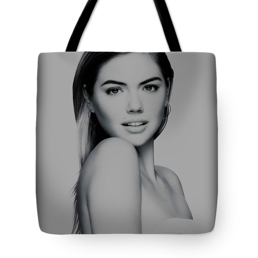Kate Upton Tote Bag featuring the mixed media Kate Upton 17 by Brian Reaves