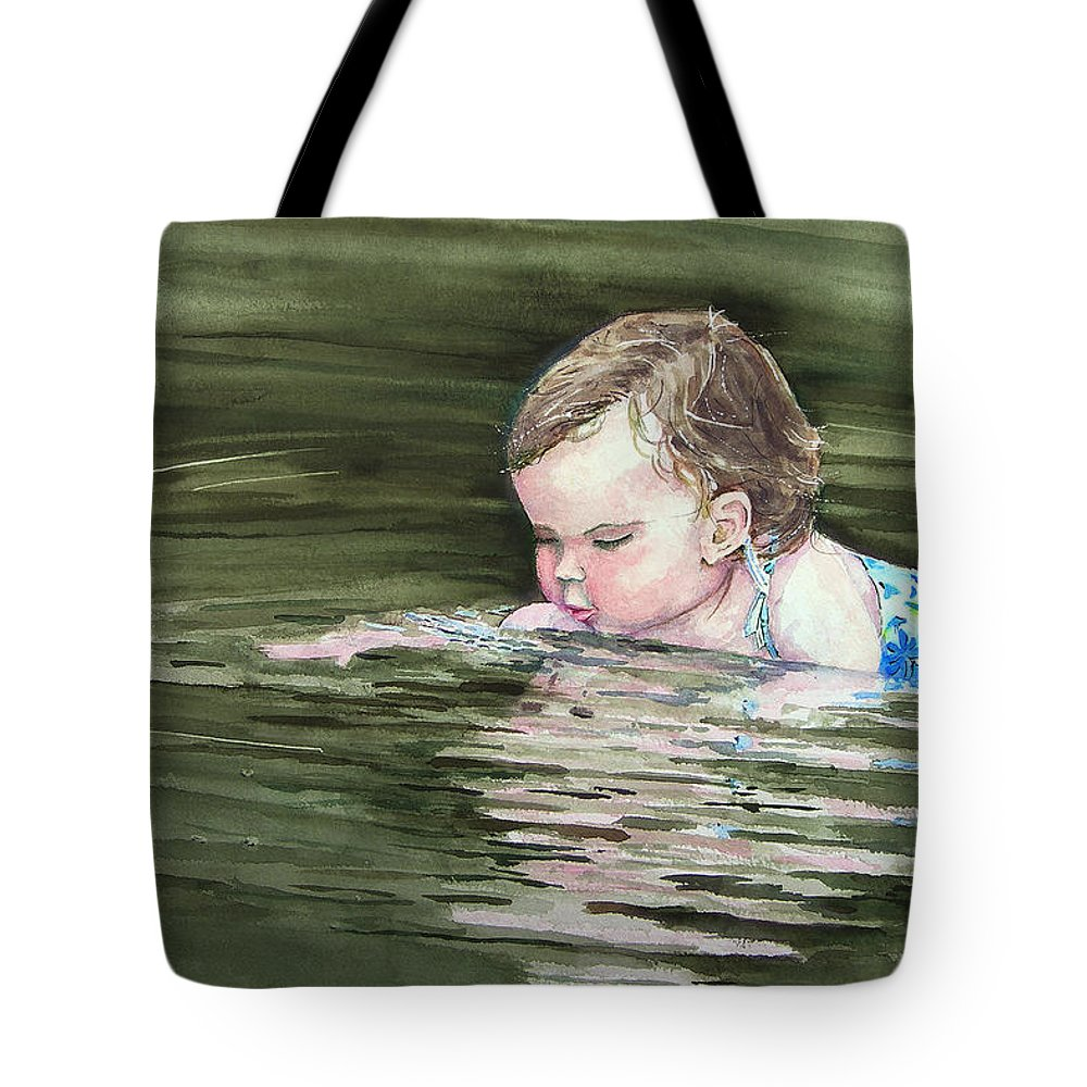Child In River Tote Bag featuring the painting Katie Wants A River Rock by Sam Sidders