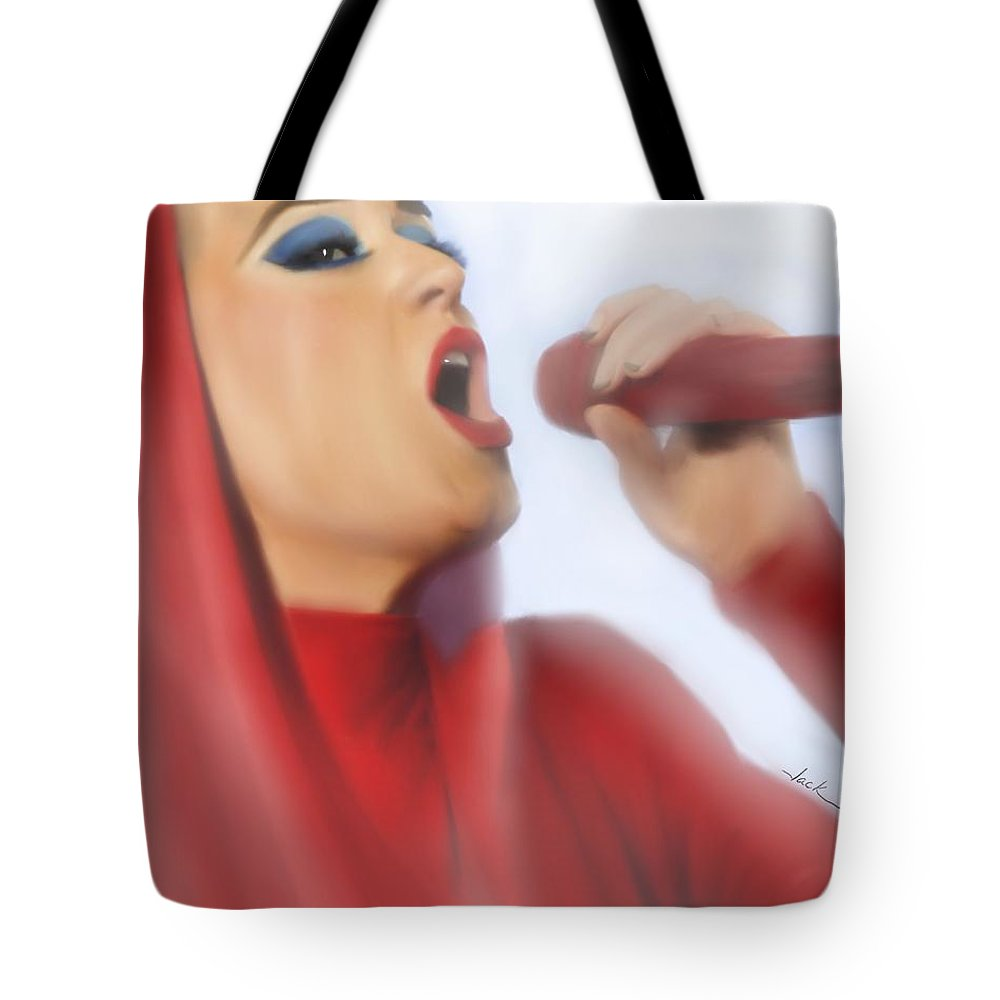 Katy Perry Tote Bag featuring the painting Katy Perry 2017 by Jack Bunds
