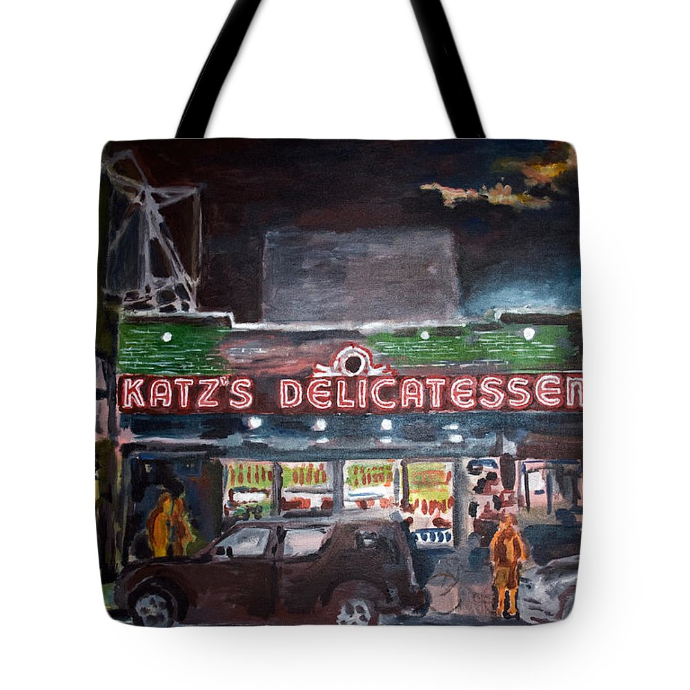 New York City Paintings Tote Bag featuring the painting Katz Deli by Wayne Pearce
