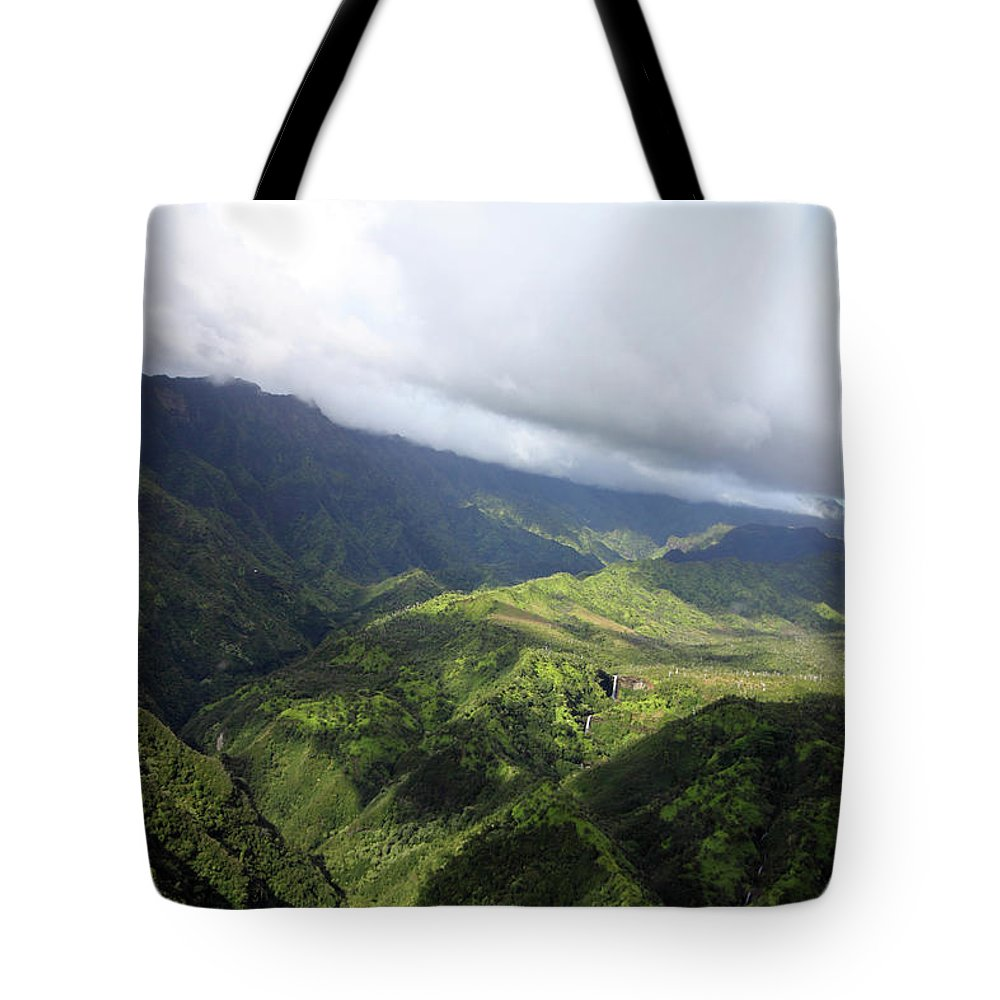 Landscape Tote Bag featuring the photograph Kauai By Helicopter by Mary Haber