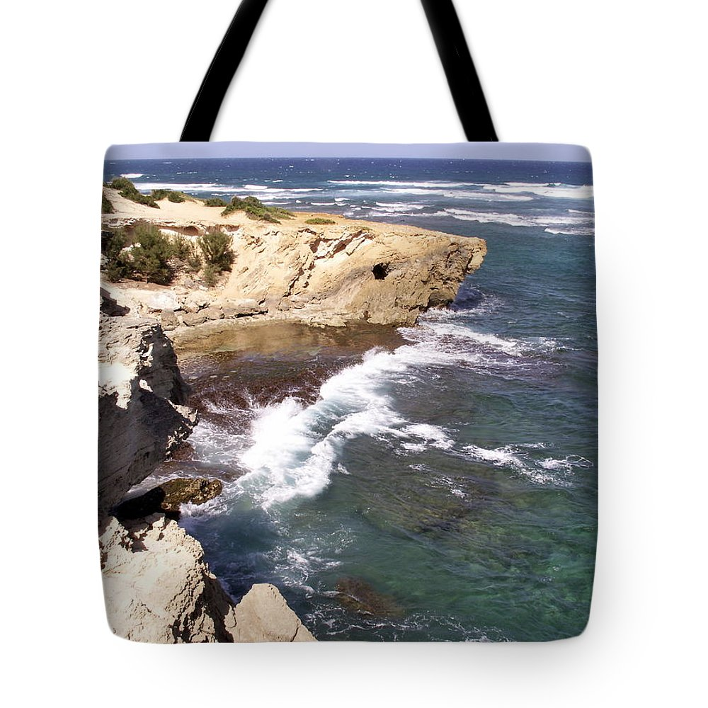 Kauai Tote Bag featuring the photograph Kauai Coast With Shark Outcrop by Amy Fose