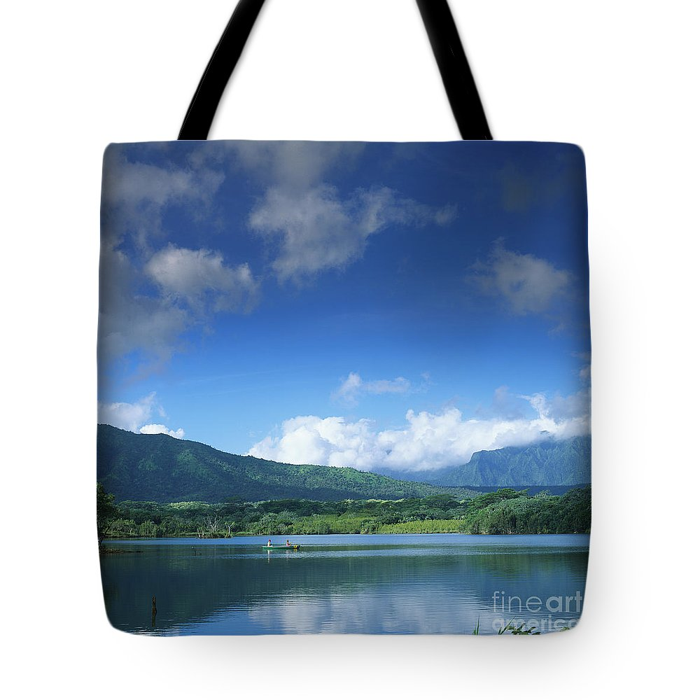 Blue Tote Bag featuring the photograph Kauaihai Ridge by Kate Turning & Tom Gibson - Printscapes